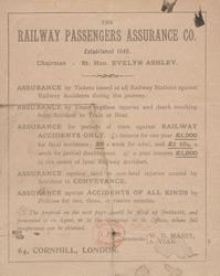Advert for the Railway Passengers Assurance Company, reverse side 6177